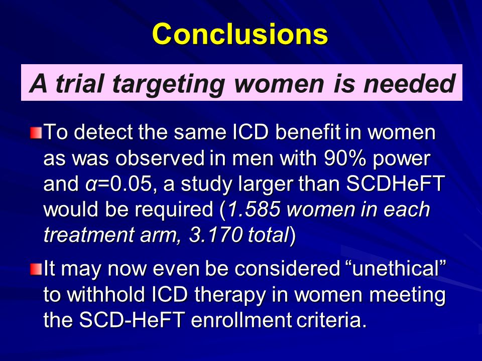 Conclusions A trial targeting women is needed To detect the same ICD benefit in women as was observed in men with 90% power and α=0.05, a study larger