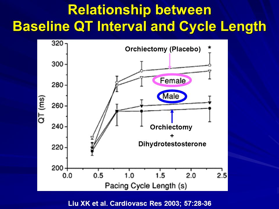 Relationship between Baseline QT Interval and Cycle Length Orchiectomy (Placebo) Orchiectomy + Dihydrotestosterone Liu XK et al. Cardiovasc Res 2003;