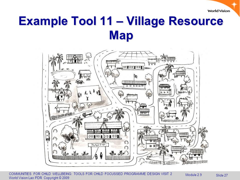 COMMUNITIES FOR CHILD WELLBEING: TOOLS FOR CHILD FOCUSSED PROGRAMME DESIGN VISIT 2 World Vision Lao PDR Copyright © 2009 Slide 27 Example Tool 11 – Village Resource Map Module 2.9