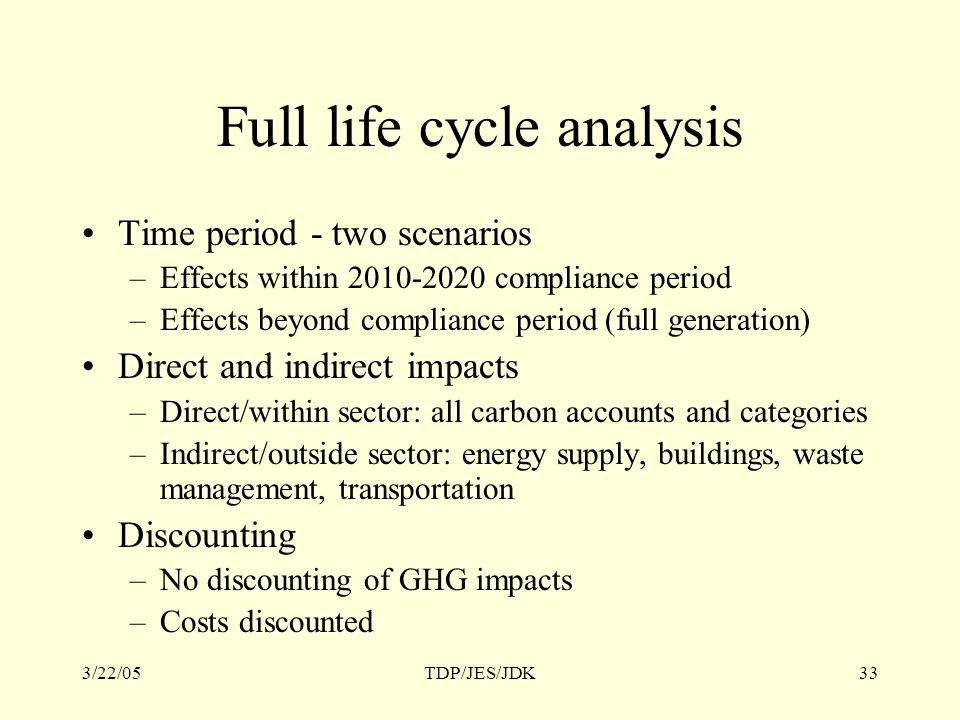 3/22/05TDP/JES/JDK33 Full life cycle analysis Time period - two scenarios –Effects within 2010-2020 compliance period –Effects beyond compliance period (full generation) Direct and indirect impacts –Direct/within sector: all carbon accounts and categories –Indirect/outside sector: energy supply, buildings, waste management, transportation Discounting –No discounting of GHG impacts –Costs discounted