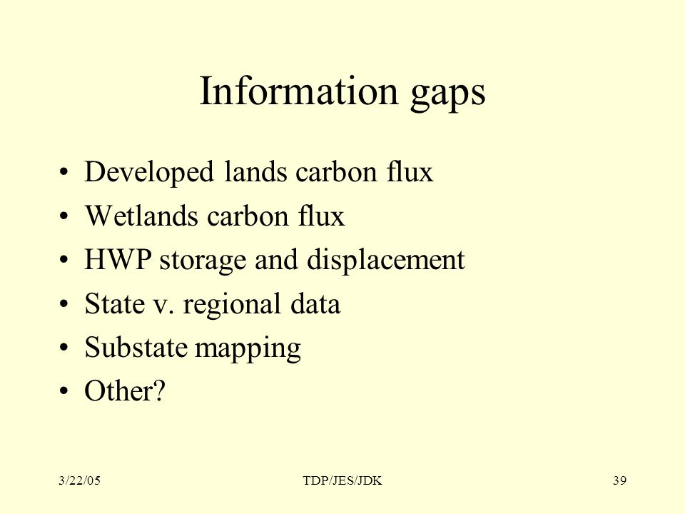 3/22/05TDP/JES/JDK39 Information gaps Developed lands carbon flux Wetlands carbon flux HWP storage and displacement State v.