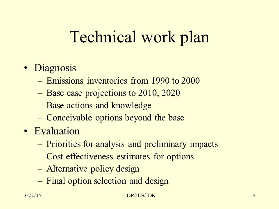3/22/05TDP/JES/JDK9 Technical work plan Diagnosis –Emissions inventories from 1990 to 2000 –Base case projections to 2010, 2020 –Base actions and knowledge –Conceivable options beyond the base Evaluation –Priorities for analysis and preliminary impacts –Cost effectiveness estimates for options –Alternative policy design –Final option selection and design