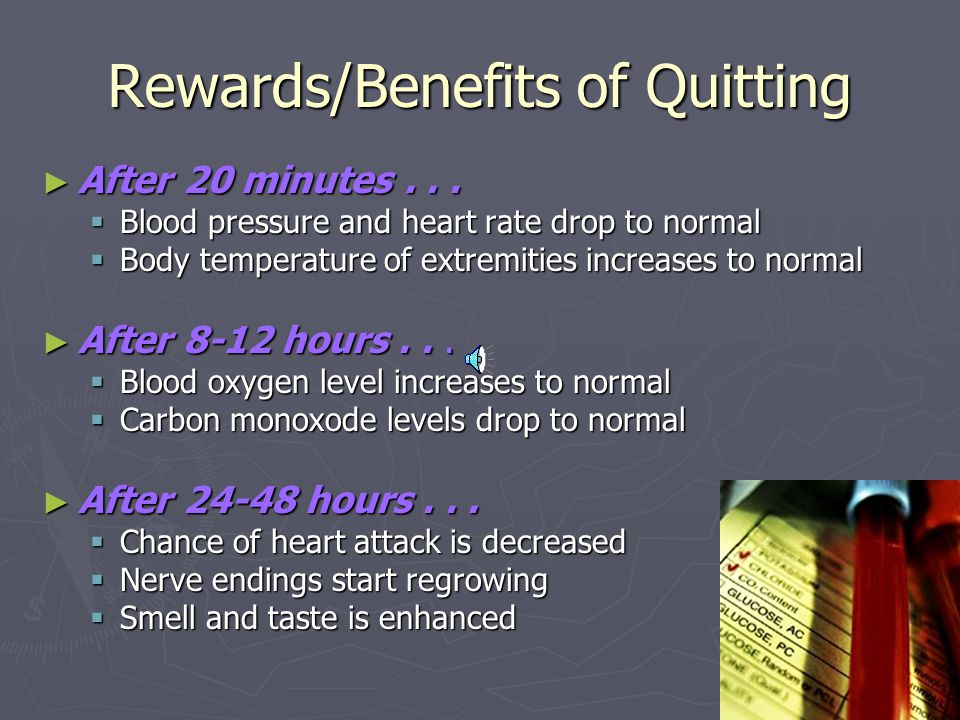 Rewards/Benefits of Quitting ► After 20 minutes...