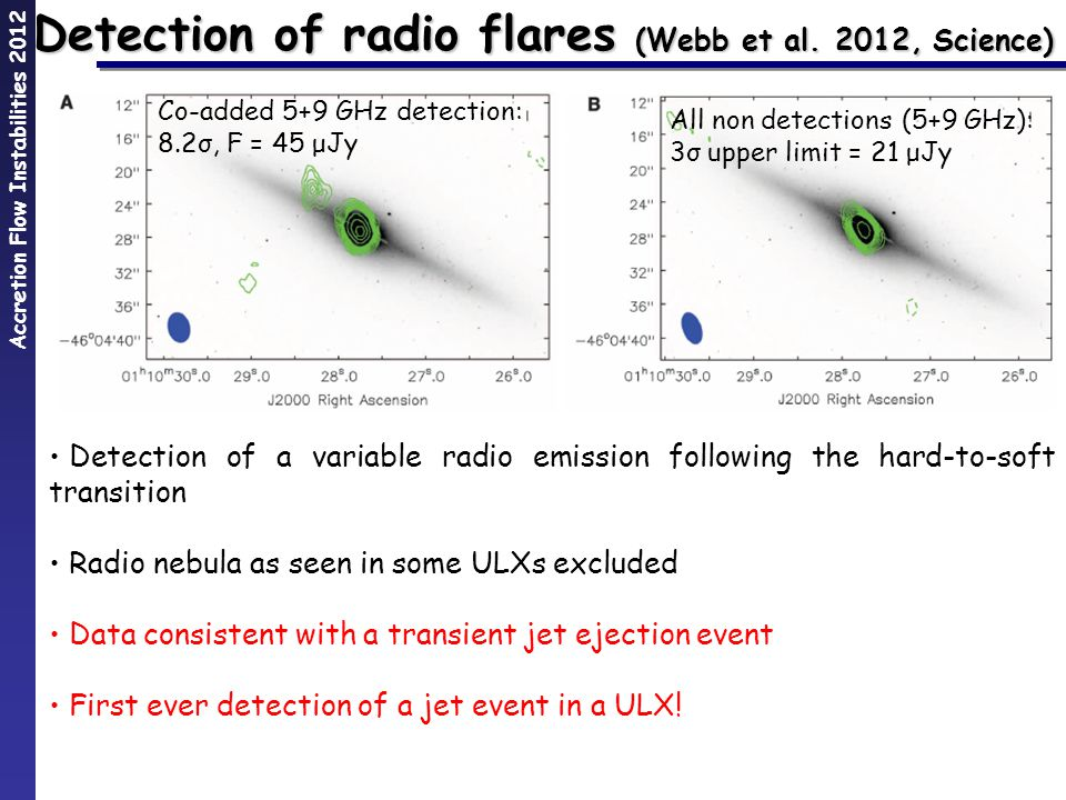 Accretion Flow Instabilities 2012 Detection of radio flares (Webb et al.