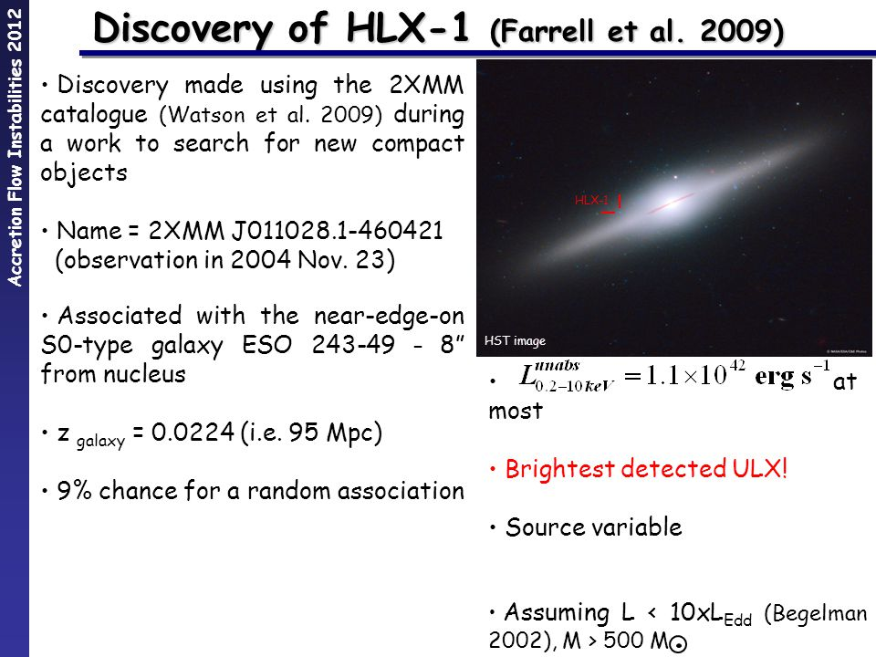 Accretion Flow Instabilities 2012 Discovery of HLX-1 (Farrell et al.