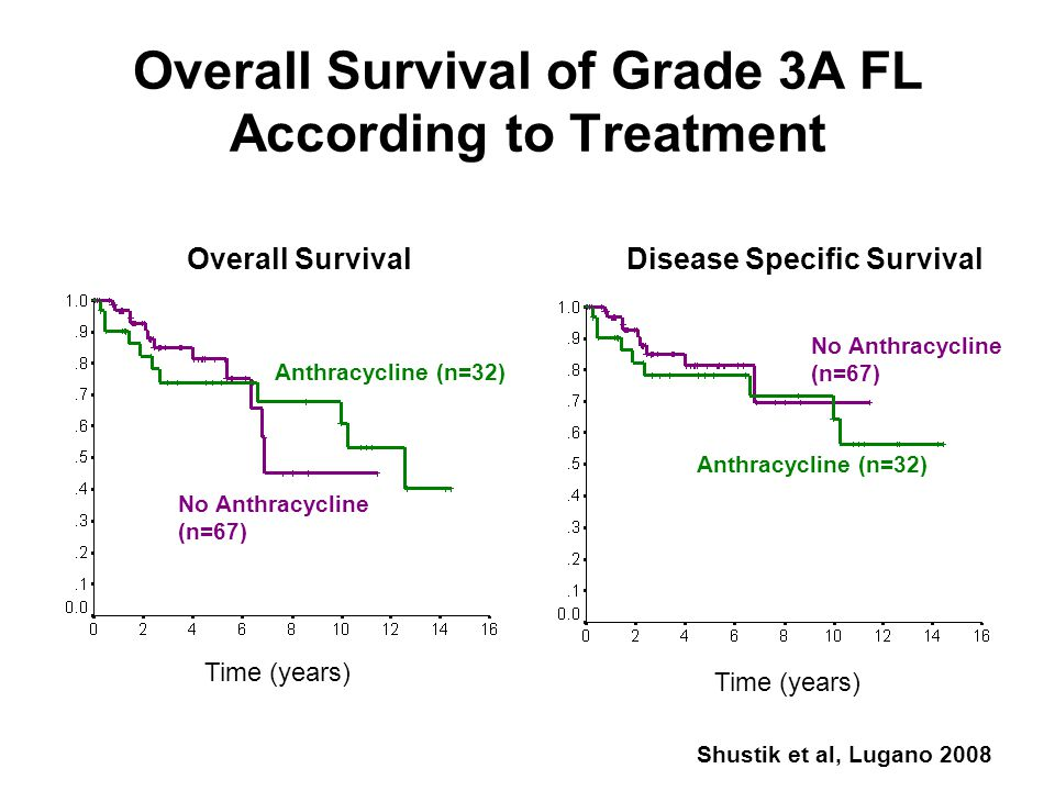 Overall Survival of Grade 3A FL According to Treatment Time (years) Overall SurvivalDisease Specific Survival Anthracycline (n=32) No Anthracycline (n=67) Shustik et al, Lugano 2008