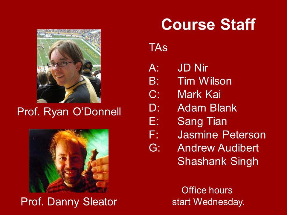 Course Staff Prof. Danny Sleator Prof.