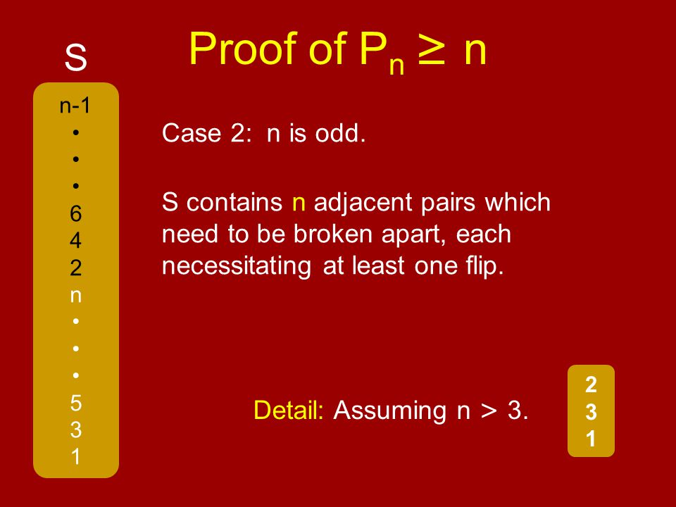 Proof of P n ≥ n n-1 6 4 2 n 5 3 1 S S contains n adjacent pairs which need to be broken apart, each necessitating at least one flip.