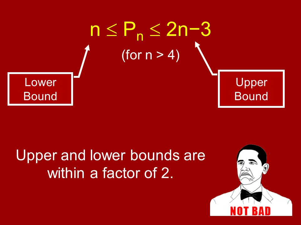 Upper and lower bounds are within a factor of 2. Upper Bound Lower Bound n  P n  2n−3 (for n > 4)