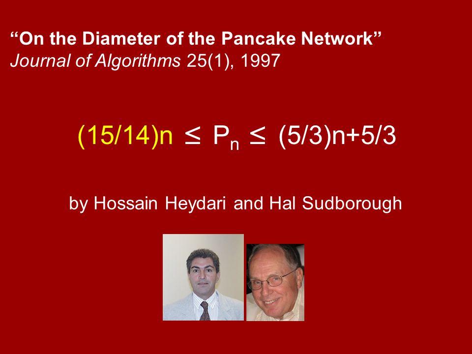 (15/14)n ≤ P n ≤ (5/3)n+5/3 On the Diameter of the Pancake Network Journal of Algorithms 25(1), 1997 by Hossain Heydari and Hal Sudborough