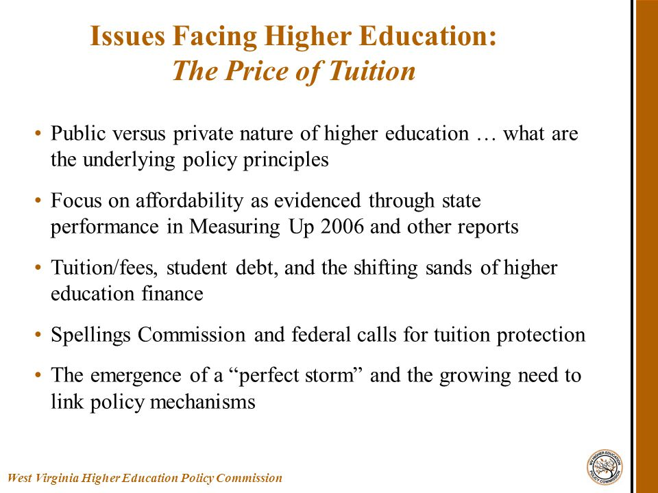 Public versus private nature of higher education … what are the underlying policy principles Focus on affordability as evidenced through state performance in Measuring Up 2006 and other reports Tuition/fees, student debt, and the shifting sands of higher education finance Spellings Commission and federal calls for tuition protection The emergence of a perfect storm and the growing need to link policy mechanisms Issues Facing Higher Education: The Price of Tuition West Virginia Higher Education Policy Commission