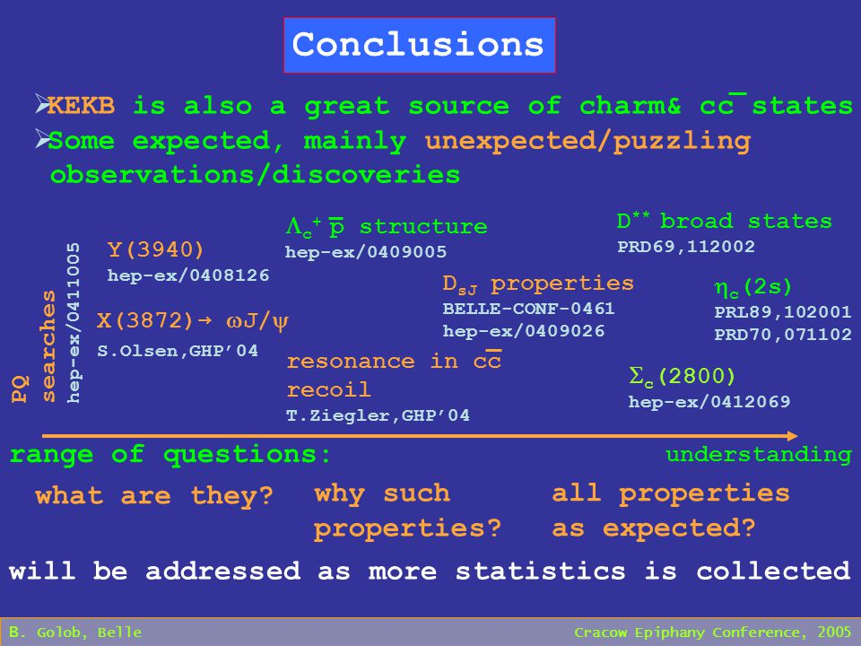 B. Golob, Belle Cracow Epiphany Conference, 2005 Conclusions  KEKB is also a great source of charm& cc states  Some expected, mainly unexpected/puzz
