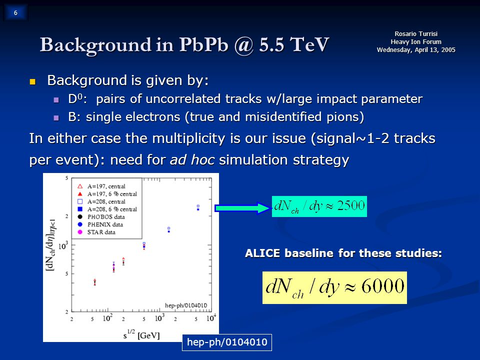 Rosario Turrisi Heavy Ion Forum Wednesday, April 13, 2005 6 Background in PbPb @ 5.5 TeV Background is given by: Background is given by: D 0 : pairs of uncorrelated tracks w/large impact parameter D 0 : pairs of uncorrelated tracks w/large impact parameter B: single electrons (true and misidentified pions) B: single electrons (true and misidentified pions) In either case the multiplicity is our issue (signal~1-2 tracks per event): need for ad hoc simulation strategy ALICE baseline for these studies: hep-ph/0104010