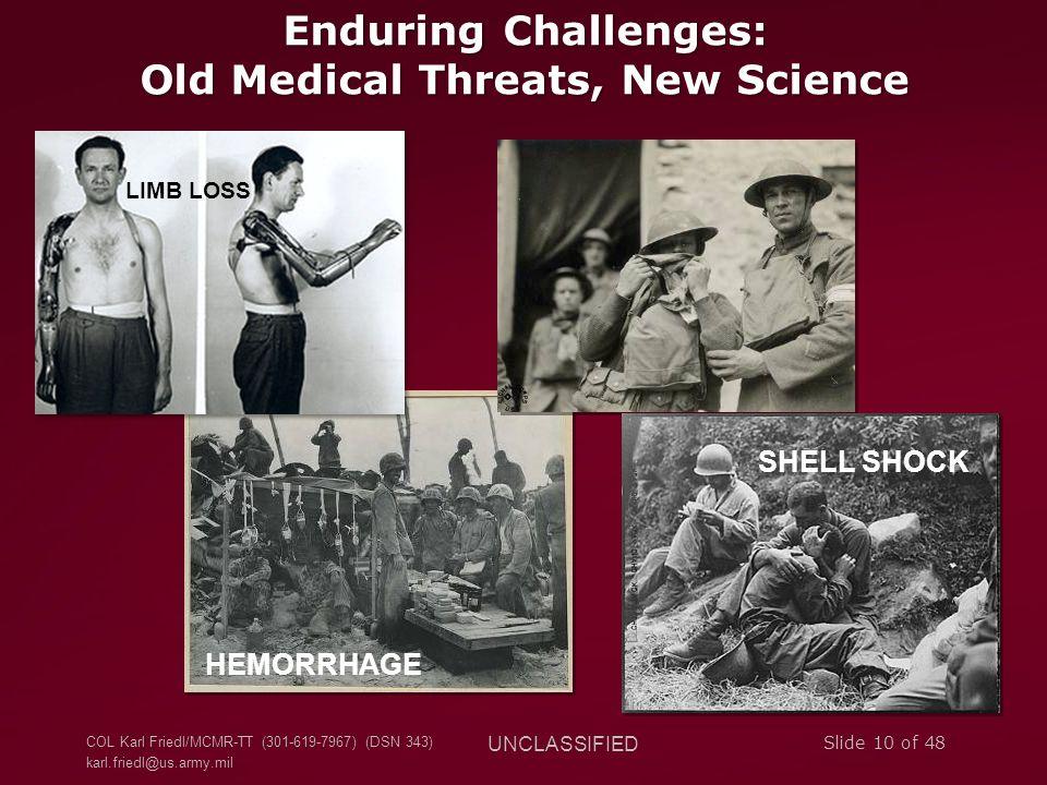 COL Karl Friedl/MCMR-TT (301-619-7967) (DSN 343) karl.friedl@us.army.mil UNCLASSIFIED Slide 10 of 48 Enduring Challenges: Old Medical Threats, New Sci