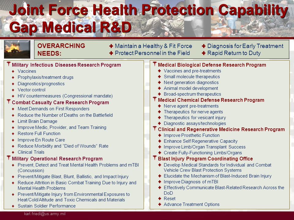 COL Karl Friedl/MCMR-TT (301-619-7967) (DSN 343) karl.friedl@us.army.mil UNCLASSIFIED Slide 13 of 48 Military Infectious Diseases Research Program Vaccines Prophylaxis/treatment drugs Diagnostics/prognostics Vector control HIV countermeasures (Congressional mandate) Combat Casualty Care Research Program Meet Demands on First Responders Reduce the Number of Deaths on the Battlefield Limit Brain Damage Improve Medic, Provider, and Team Training Restore Full Function Improve En Route Care Reduce Morbidity and Died of Wounds Rate Clinical Trials Military Operational Research Program Prevent, Detect and Treat Mental Health Problems and mTBI (Concussion) Prevent/Mitigate Blast, Blunt, Ballistic, and Impact Injury Reduce Attrition in Basic Combat Training Due to Injury and Mental Health Problems Prevent/Mitigate Injury from Environmental Exposures to Heat/Cold/Altitude and Toxic Chemicals and Materials Sustain Soldier Performance Medical Biological Defense Research Program Vaccines and pre-treatments Small molecule therapeutics Next generation diagnostics Animal model development Broad-spectrum therapeutics Medical Chemical Defense Research Program Nerve agent pre-treatments Therapeutics for nerve agents Therapeutics for vesicant injury Diagnostic assays/technologies Clinical and Regenerative Medicine Research Program Improve Prosthetic Function Enhance Self Regenerative Capacity Improve Limb/Organ Transplant Success Create Fully-Functioning Limbs/Organs Blast Injury Program Coordinating Office Develop Medical Standards for Individual and Combat Vehicle Crew Blast Protection Systems Elucidate the Mechanism of Blast-Induced Brain Injury Improve Diagnosis of mTBI Effectively Communicate Blast-Related Research Across the DoD Reset Advance Treatment Options OVERARCHING NEEDS: Maintain a Healthy & Fit Force Protect Personnel in the Field Diagnosis for Early Treatment Rapid Return to Duty Joint Force Health Protection Capability Gap Medical R&D