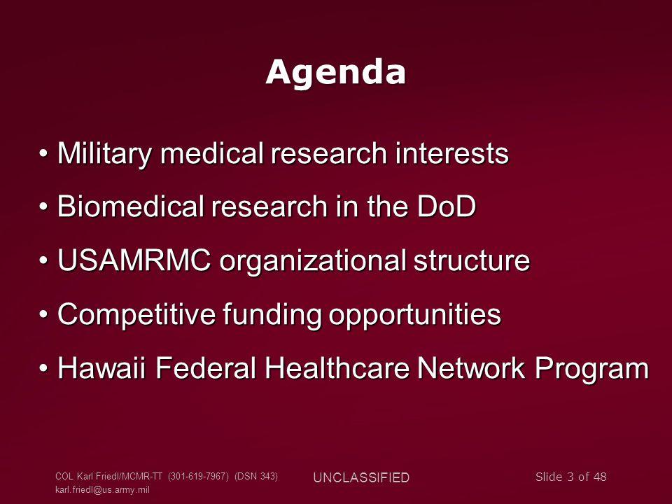 COL Karl Friedl/MCMR-TT (301-619-7967) (DSN 343) karl.friedl@us.army.mil UNCLASSIFIED Slide 3 of 48 Agenda Military medical research interests Militar