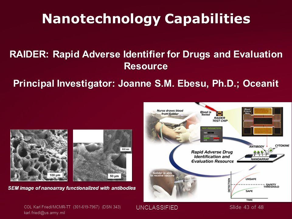 COL Karl Friedl/MCMR-TT (301-619-7967) (DSN 343) karl.friedl@us.army.mil UNCLASSIFIED Slide 43 of 48 Nanotechnology Capabilities RAIDER: Rapid Adverse