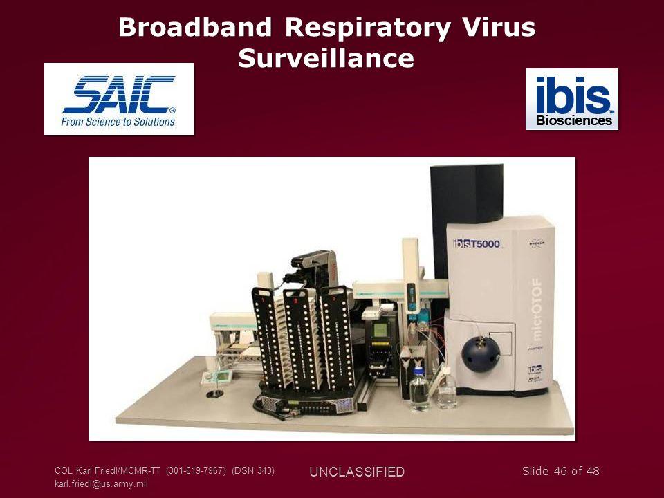 COL Karl Friedl/MCMR-TT (301-619-7967) (DSN 343) karl.friedl@us.army.mil UNCLASSIFIED Slide 46 of 48 Broadband Respiratory Virus Surveillance