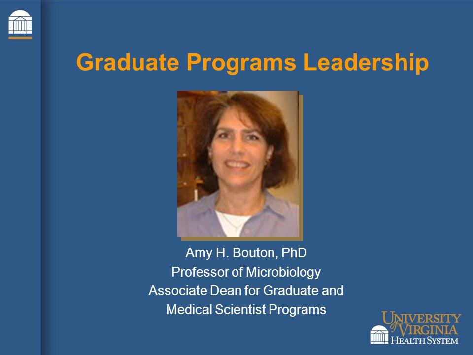 Amy H. Bouton, PhD Professor of Microbiology Associate Dean for Graduate and Medical Scientist Programs Graduate Programs Leadership