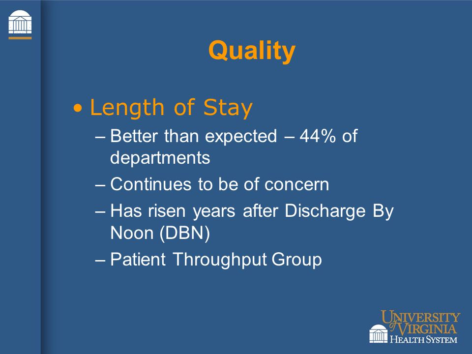 Quality Length of Stay –Better than expected – 44% of departments –Continues to be of concern –Has risen years after Discharge By Noon (DBN) –Patient Throughput Group