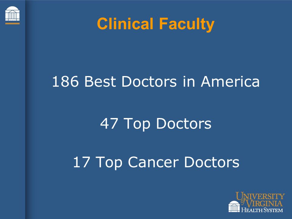 Clinical Faculty 186 Best Doctors in America 47 Top Doctors 17 Top Cancer Doctors