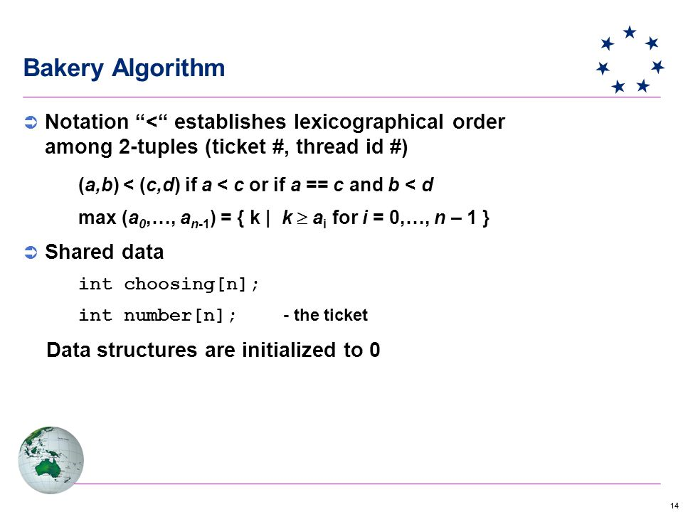 14 Bakery Algorithm  Notation < establishes lexicographical order among 2-tuples (ticket #, thread id #) (a,b) < (c,d) if a < c or if a == c and b < d max (a 0,…, a n-1 ) = { k | k  a i for i = 0,…, n – 1 }  Shared data int choosing[n]; int number[n]; - the ticket Data structures are initialized to 0