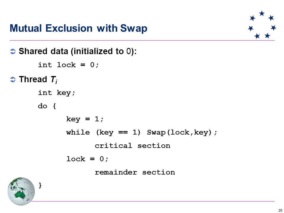 20 Mutual Exclusion with Swap  Shared data (initialized to 0): int lock = 0;  Thread T i int key; do { key = 1; while (key == 1) Swap(lock,key); critical section lock = 0; remainder section }