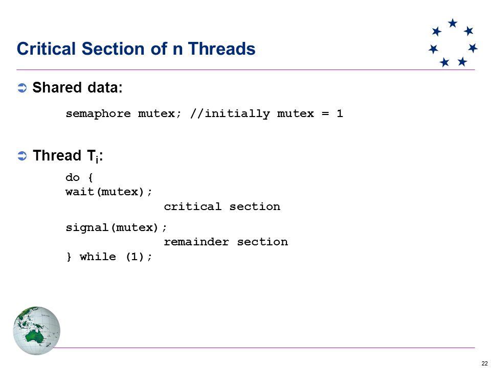22 Critical Section of n Threads  Shared data: semaphore mutex; //initially mutex = 1  Thread T i : do { wait(mutex); critical section signal(mutex); remainder section } while (1);