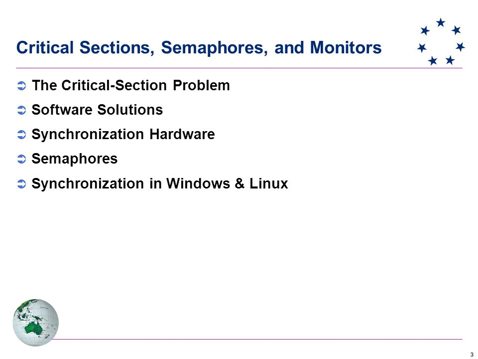 33 Critical Sections, Semaphores, and Monitors  The Critical-Section Problem  Software Solutions  Synchronization Hardware  Semaphores  Synchronization in Windows & Linux