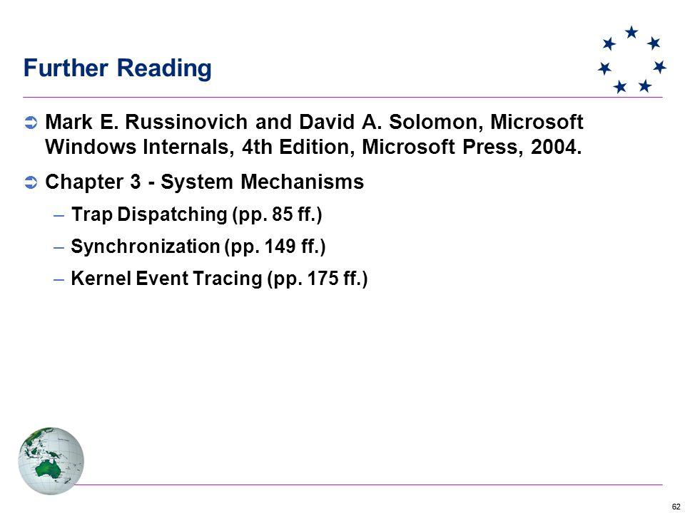 62 Further Reading  Mark E.Russinovich and David A.