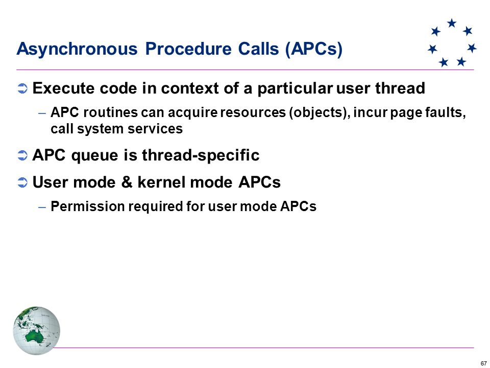 67 Asynchronous Procedure Calls (APCs)  Execute code in context of a particular user thread –APC routines can acquire resources (objects), incur page faults, call system services  APC queue is thread-specific  User mode & kernel mode APCs –Permission required for user mode APCs