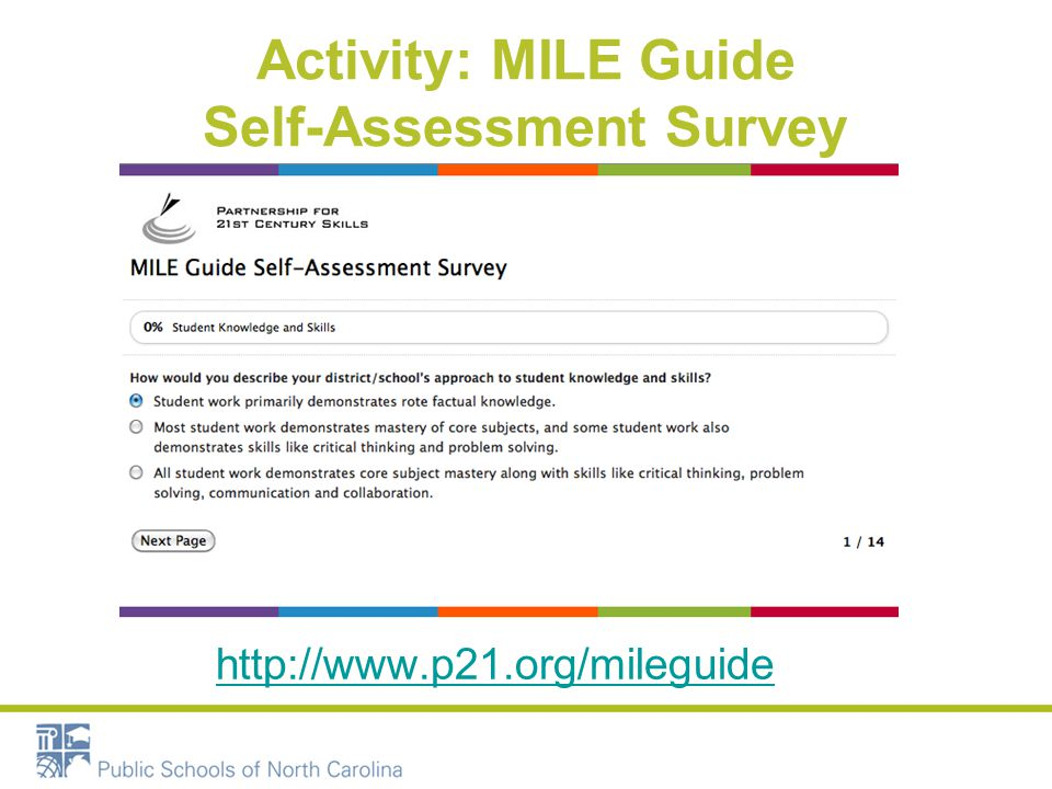 Activity: MILE Guide Self-Assessment Survey http://www.p21.org/mileguide