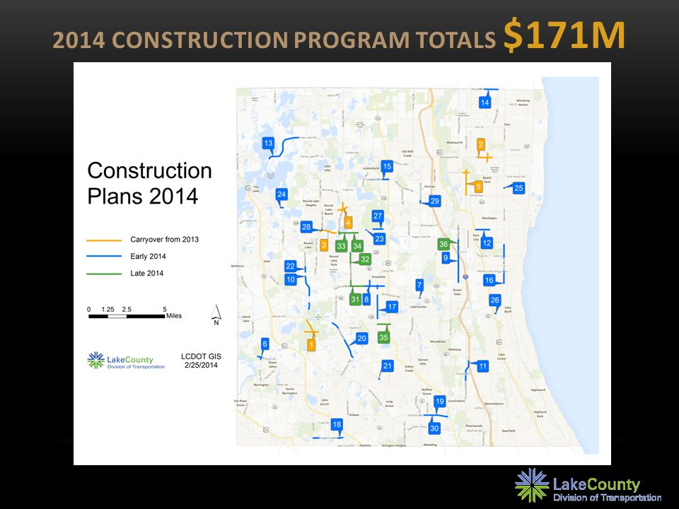 $72M PROJECTS CONTINUED FROM 2013 Fairfield Road at IL 176 Wadsworth Road: IL 131 to Cambridge Dr Washington Street: Cedar Lake Rd to Hainesville Rd Rollins Road at IL 83 Delany Road: Sunset Ave to York House Rd