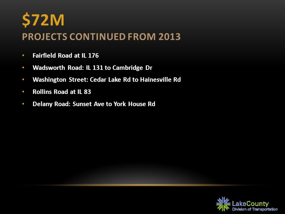 $72M PROJECTS CONTINUED FROM 2013 Fairfield Road at IL 176 Wadsworth Road: IL 131 to Cambridge Dr Washington Street: Cedar Lake Rd to Hainesville Rd R