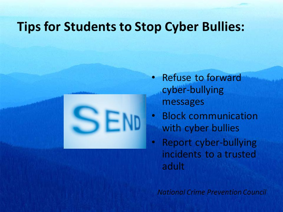 Tips for Students to Stop Cyber Bullies: Refuse to forward cyber-bullying messages Block communication with cyber bullies Report cyber-bullying incidents to a trusted adult National Crime Prevention Council