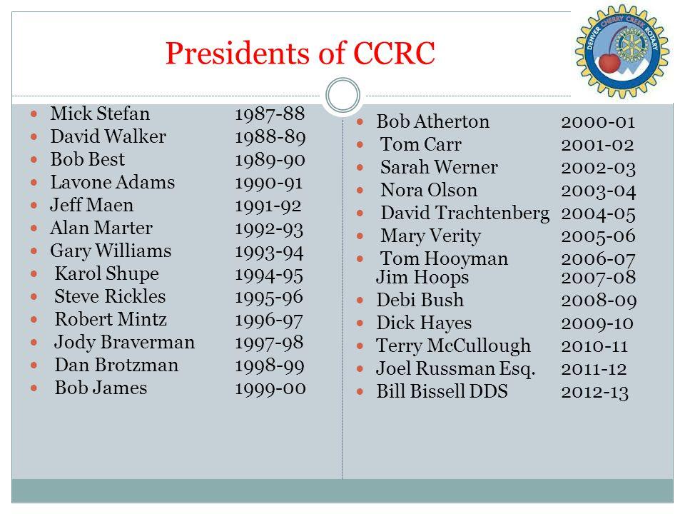Presidents of CCRC Mick Stefan 1987-88 David Walker 1988-89 Bob Best1989-90 Lavone Adams1990-91 Jeff Maen 1991-92 Alan Marter1992-93 Gary Williams1993