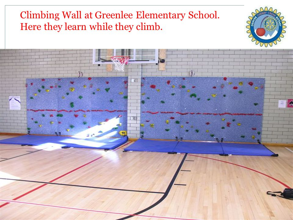 Climbing Wall at Greenlee Elementary School. Here they learn while they climb.