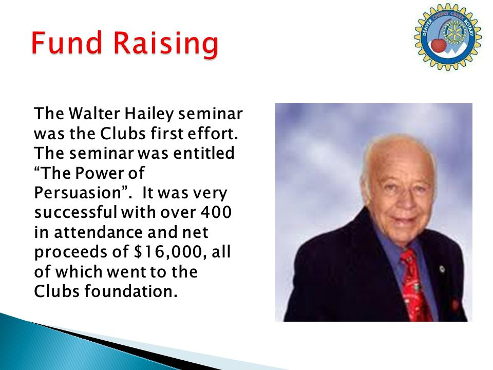 The Walter Hailey seminar was the Clubs first effort.