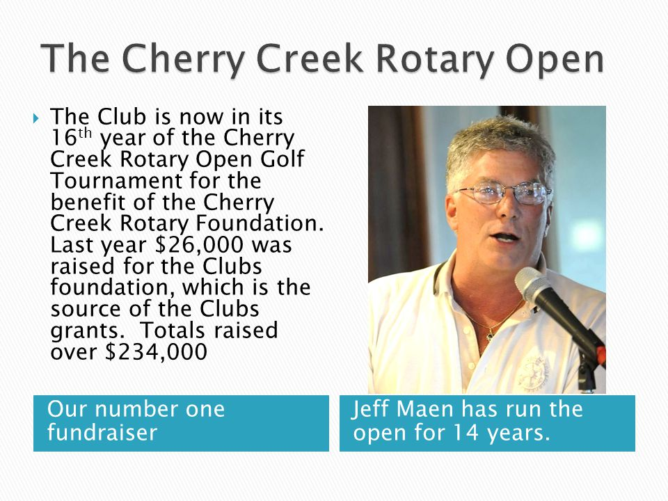 Our number one fundraiser Jeff Maen has run the open for 14 years.