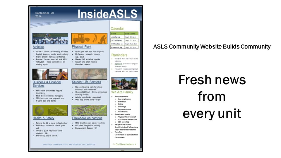 ASLS Webmasters User Group  Best Practices  Enhance Web Design and Usability  Analytics  Mobile Friendly Pages ASLS Committees All Division Meeting 2014