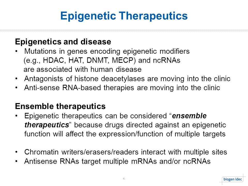 4. Epigenetic Therapeutics Epigenetics and disease Mutations in genes encoding epigenetic modifiers (e.g., HDAC, HAT, DNMT, MECP) and ncRNAs are assoc