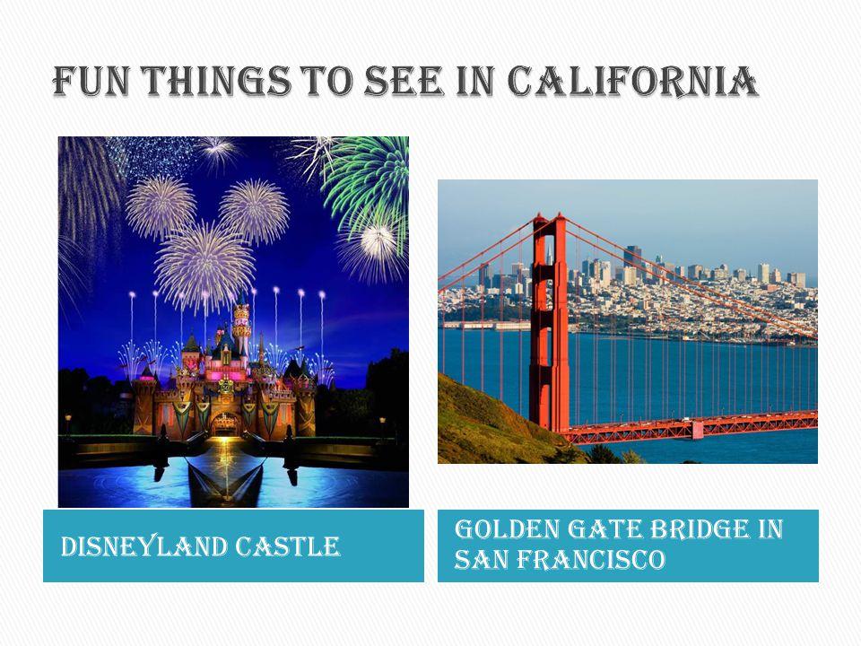 Disneyland castle Golden gate bridge in san Francisco