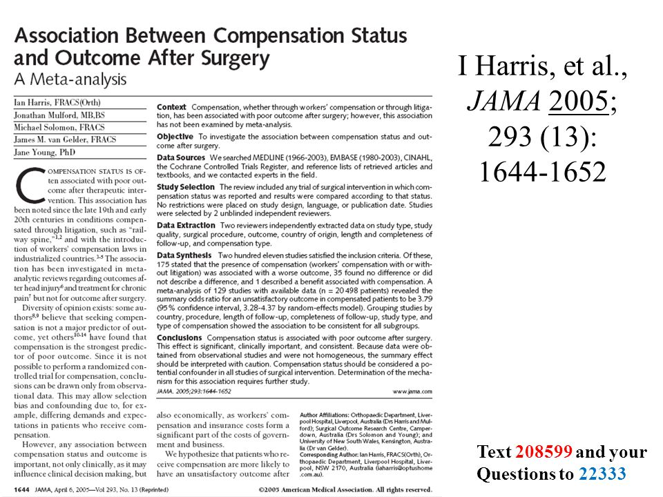 I Harris, et al., JAMA 2005; 293 (13): 1644-1652 Text 208599 and your Questions to 22333