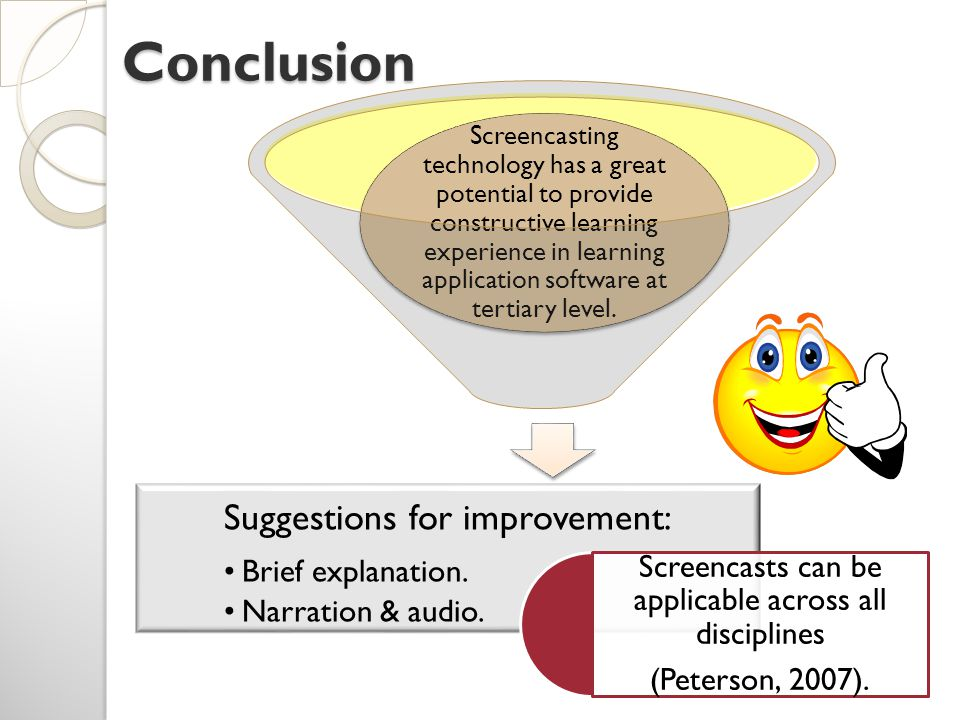 Conclusion Screencasting technology has a great potential to provide constructive learning experience in learning application software at tertiary level.