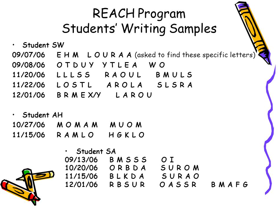 REACH Program Students' Writing Samples Student SW 09/07/06 E H M L O U R A A (asked to find these specific letters) 09/08/06 O T D U Y Y T L E A W O