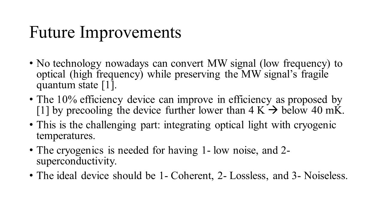 Future Improvements No technology nowadays can convert MW signal (low frequency) to optical (high frequency) while preserving the MW signal's fragile quantum state [1].