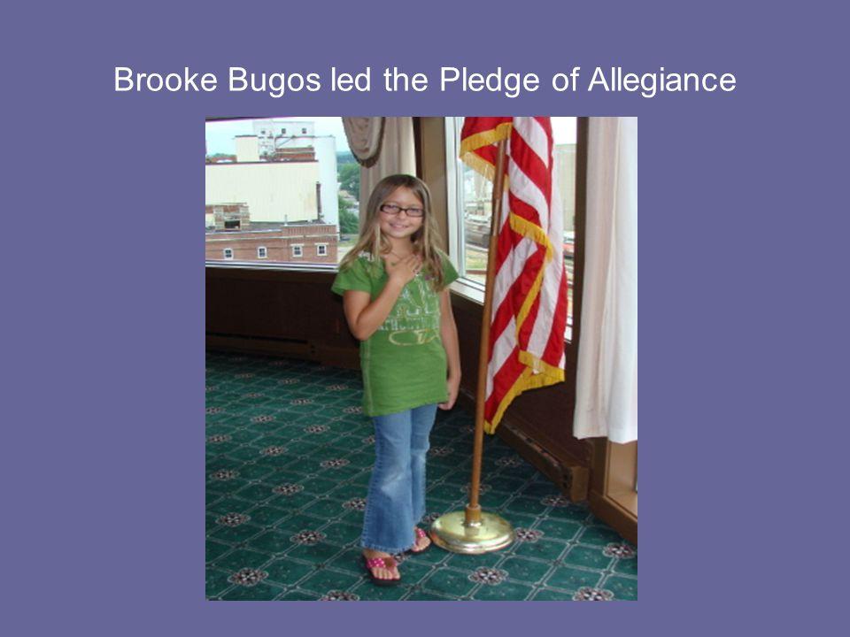 Brooke Bugos led the Pledge of Allegiance