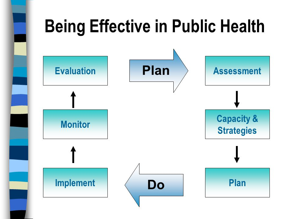 Being Effective in Public Health Assessment Capacity & Strategies Plan Evaluation Monitor Implement Plan Do