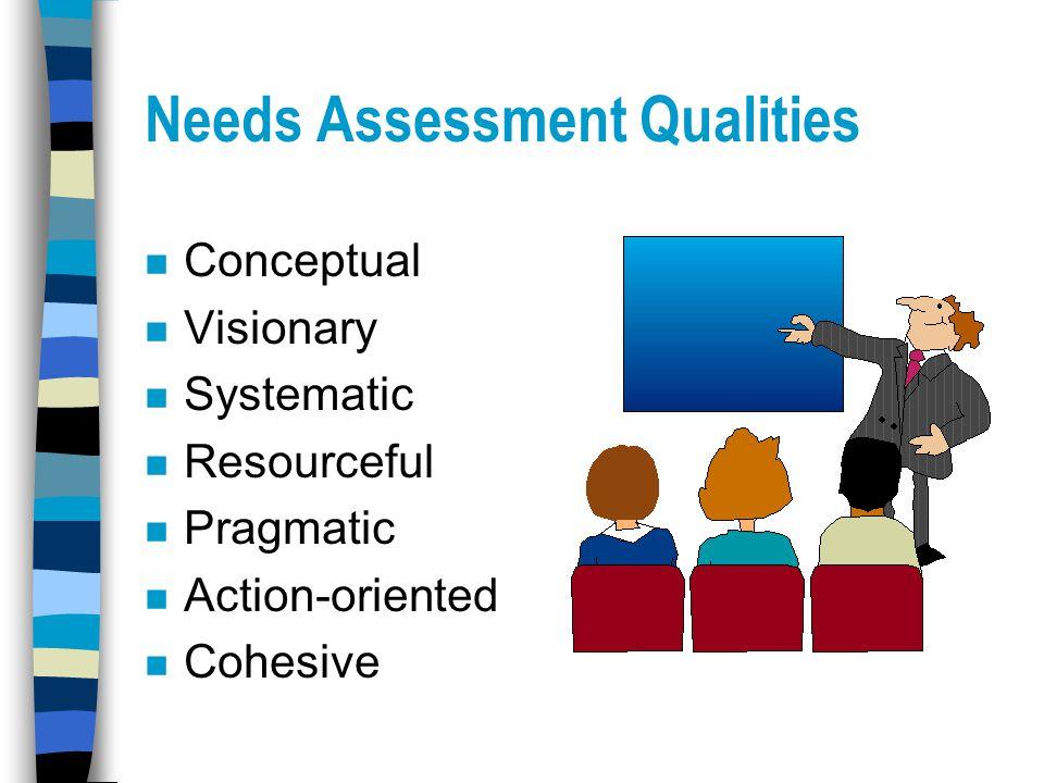 Needs Assessment Qualities n Conceptual n Visionary n Systematic n Resourceful n Pragmatic n Action-oriented n Cohesive