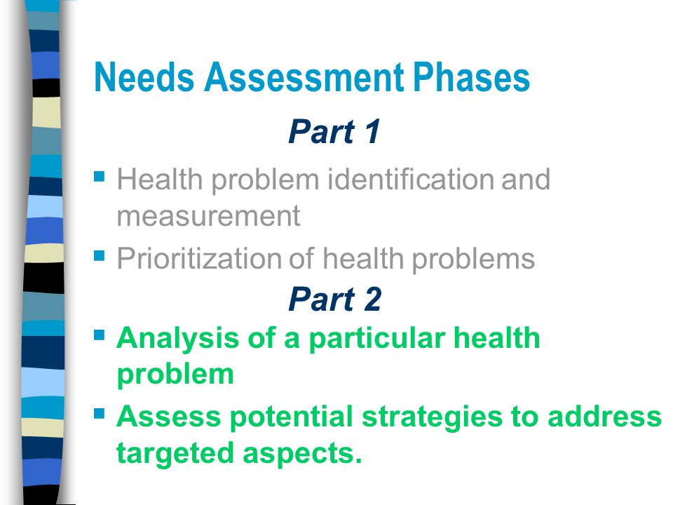Needs Assessment Phases  Health problem identification and measurement  Prioritization of health problems  Analysis of a particular health problem